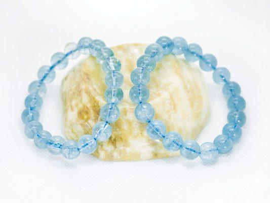 Vòng tay đá aquamarine ngọc xanh biển trơn - VT21