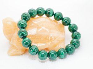 Vòng tay đá lông công malachit xanh lá trơn - VT20