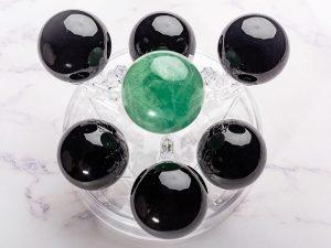 Bộ thất tinh trận đồ đá thạch anh đen, xanh lá, mệnh Thủy và Mộc - TT07