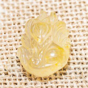Mặt dây chuyền hồ ly thạch anh tóc vàng, mệnh Thổ và Kim - HL02