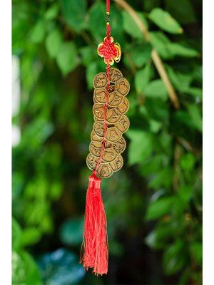 Xâu đồng xu phong thủy hoa mai 5 cánh, dây đỏ - X03