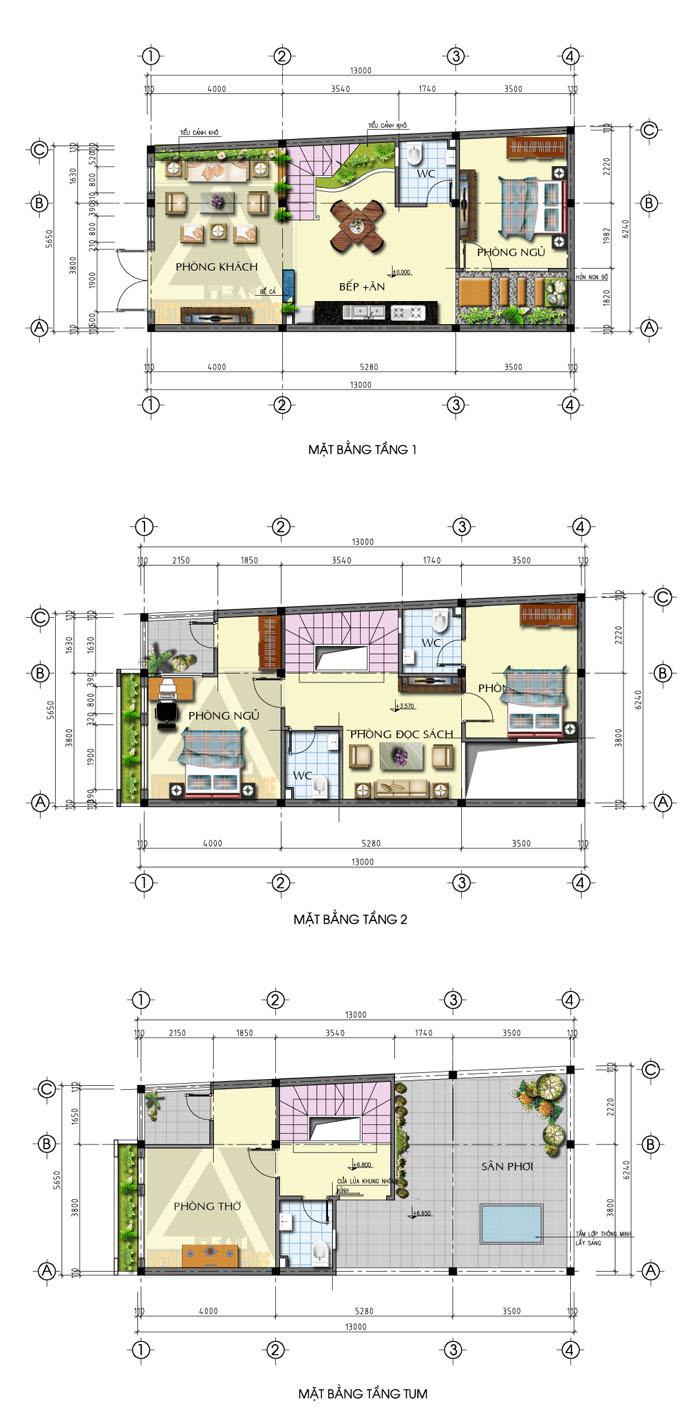 Mẫu thiết kế nhà nở hậu dạng ống 2 tấng và sân thượng