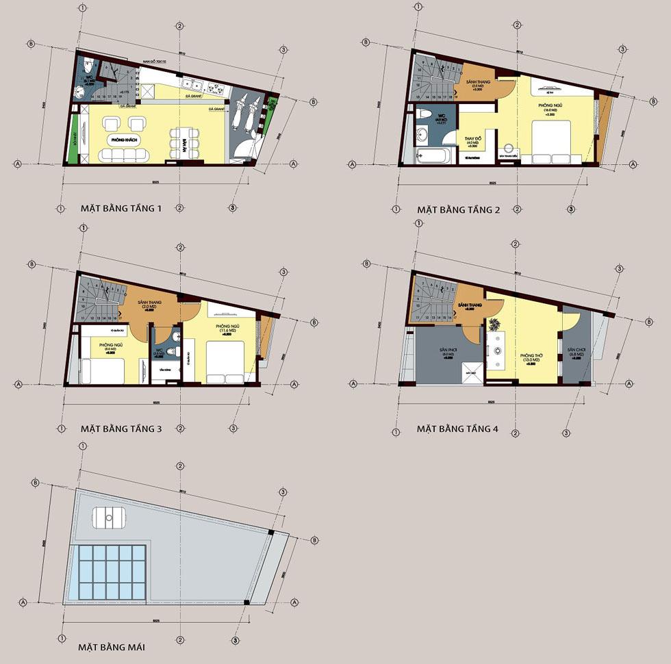 Mẫu thiết kế nhà nở hậu dạng ống 4 tấng và sân thượng