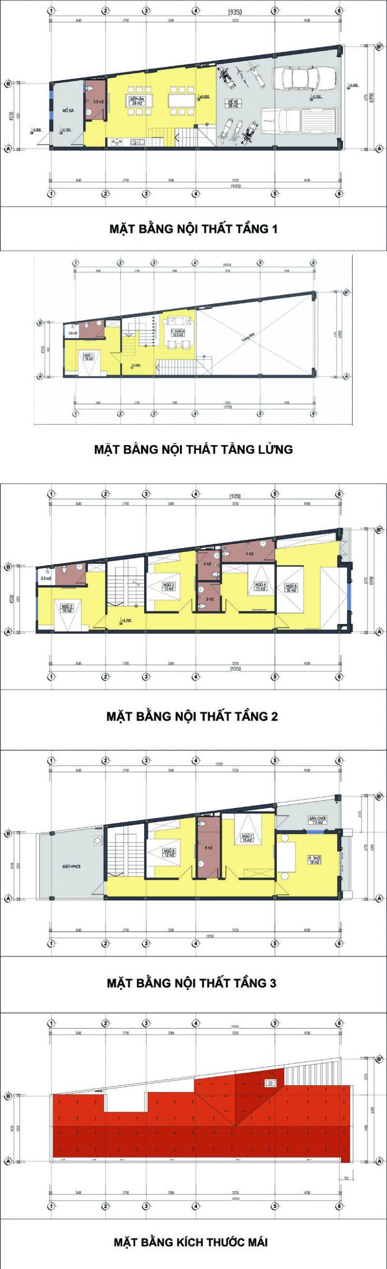 Mẫu thiết kế nhà thóp hậu 3 tầng có nóc