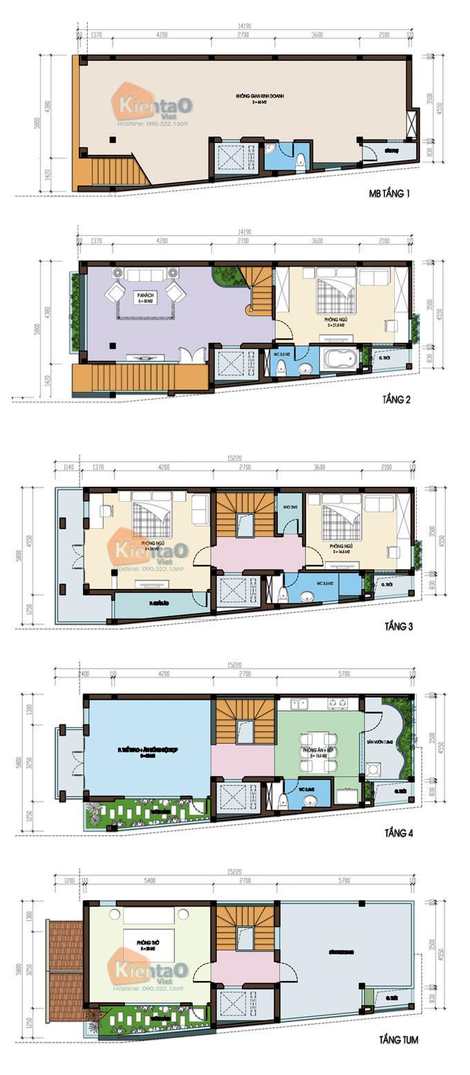 Mẫu thiết kế nhà thóp hậu 4 tầng và sân thượng